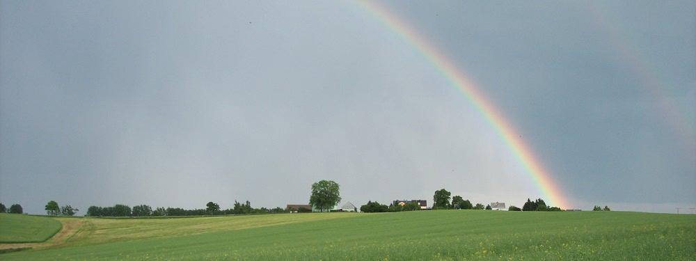 Regenbogen über Erlbach-Kirchberg