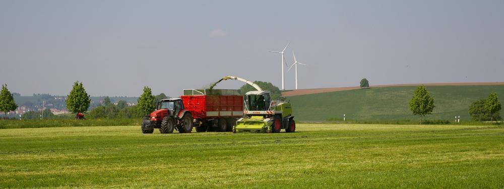 Traktor bei der Futterernte